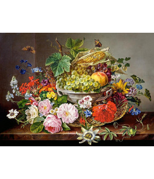 Пазл Still life with flowers and fruit basket, 2000 елементів